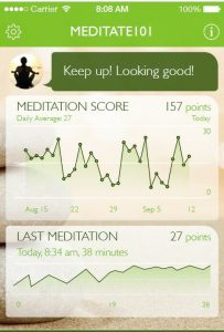 Dashboard of Meditate 101 mobile app