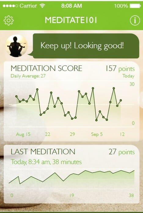 Dashboard of Meditate 101 mobile app