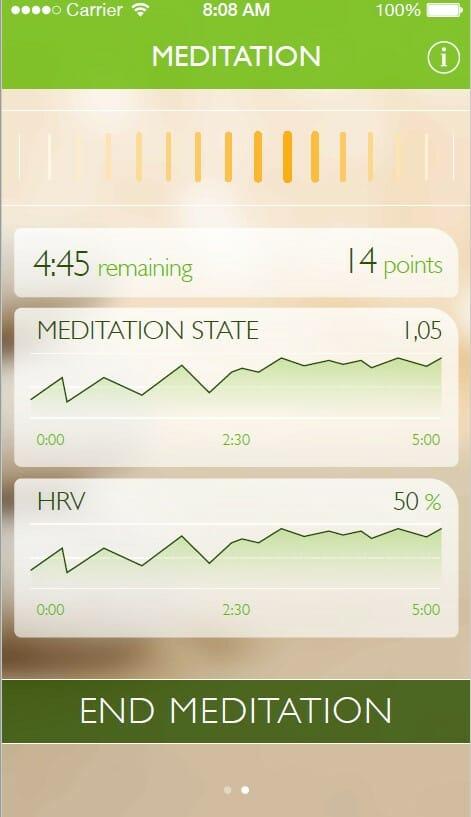 Meditate 101 mobile app during meditation, dashboard view
