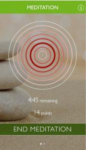 Home screen of meditation app during meditation