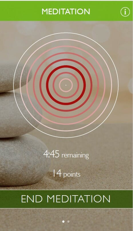 Home screen of meditation app during meditation