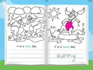 Weather book, mobile app for children drawing