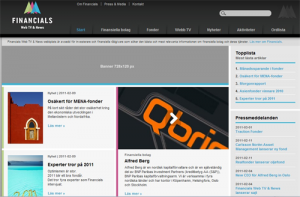 Main window of financials news site built on drupal CMS