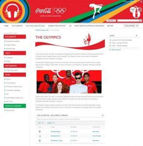 Main window of coca cola global IT website