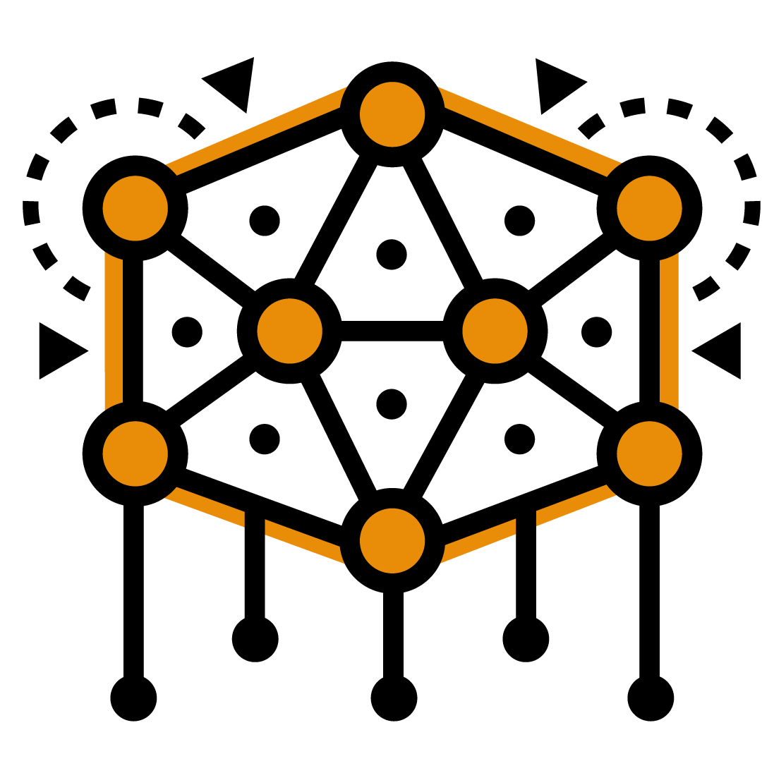 Interconnected nodes representing machine learning
