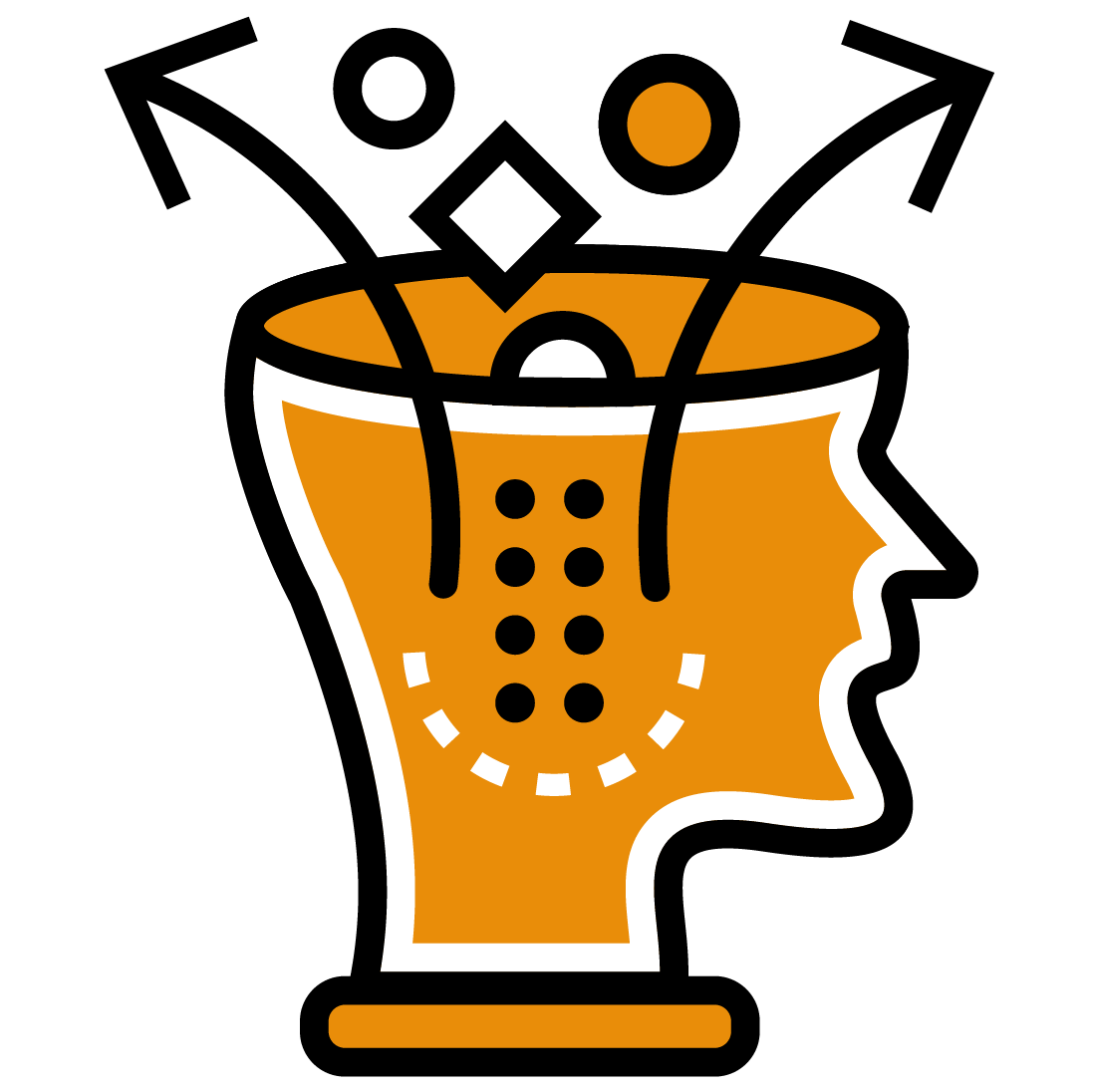 Head with cubes and spheres representing the thinking process of scientists in machine learning data collection