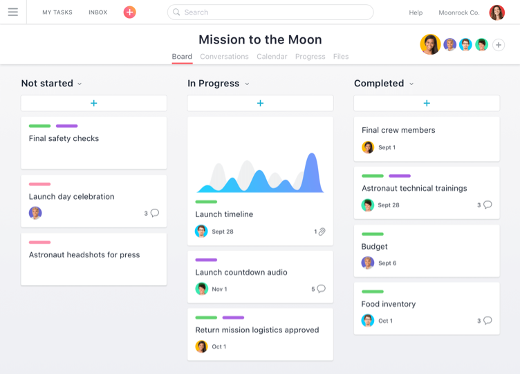 Tasks in Asana Project Management Tool