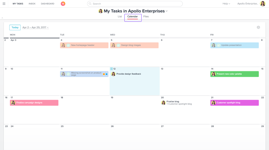 Calendar with roles and tasks in Asana Project Management Software