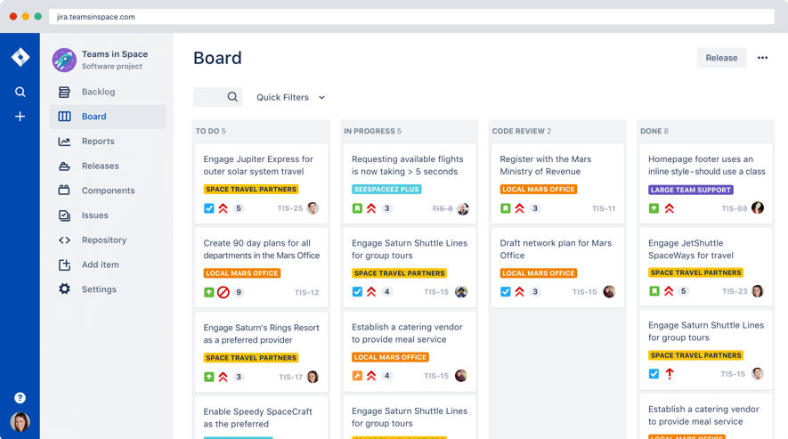 Board of Jira Project Management Software