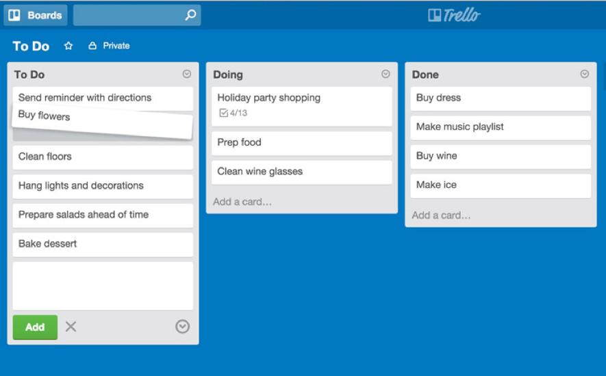 Tasks in Trello PM tool