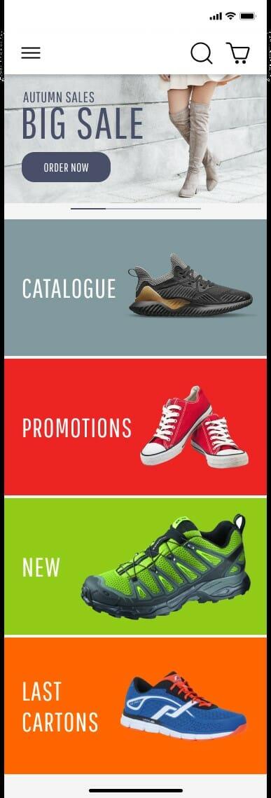 bbs shoes mobile app UI main