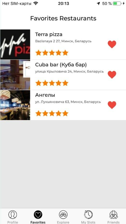 restaurants list